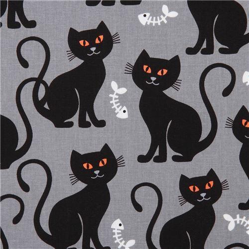 grey Halloween Michael Miller cat fabric