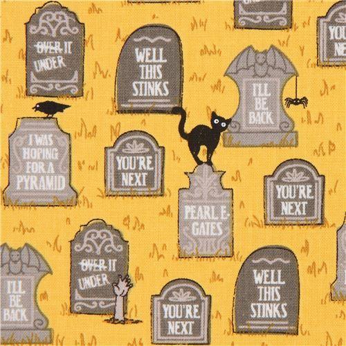 orange gravestone Halloween fabric by Ink & Arrow