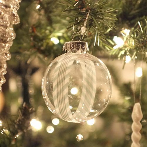Jackie from the blog teal and lime embellished Christmas tree balls with Masking Tape