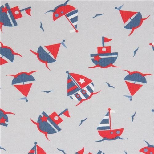 grey sail boat Stof Fabrics knit fabric
