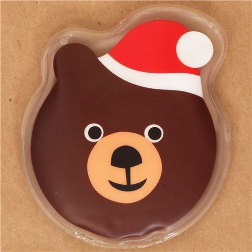 Brown bear face with Christmas hat pocket warmer hot pad