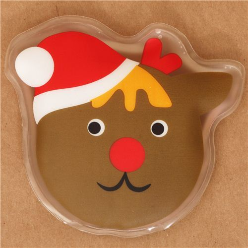 Reindeer face with Christmas hat pocket warmer hot pad