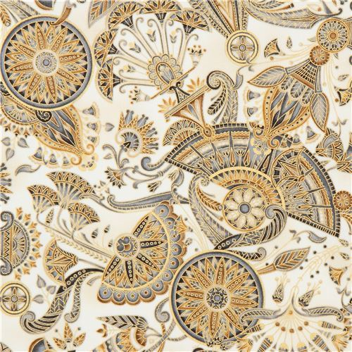 light cream brown grey flower circle metallic fabric Robert Kaufman Studio RK