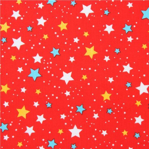 red Robert Kaufman fabric cute star Space Explorers