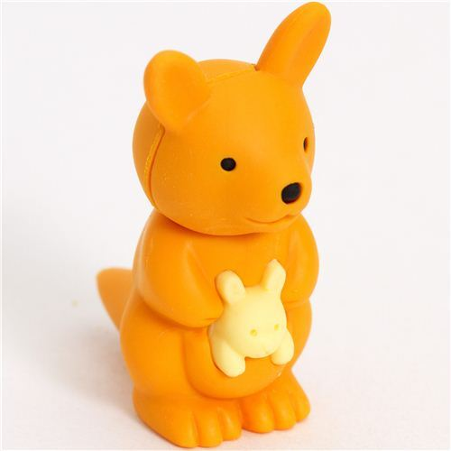 orange kangaroo eraser by Iwako from Japan