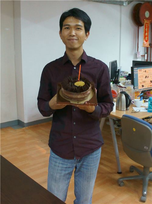 Alan with his chocolate birthday cake