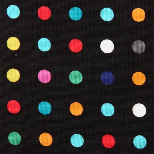 black Michael Miller fabric colorful dot Make a Point
