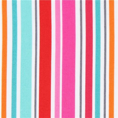 white pink red Michael Miller fabric colorful stripe All in a Row