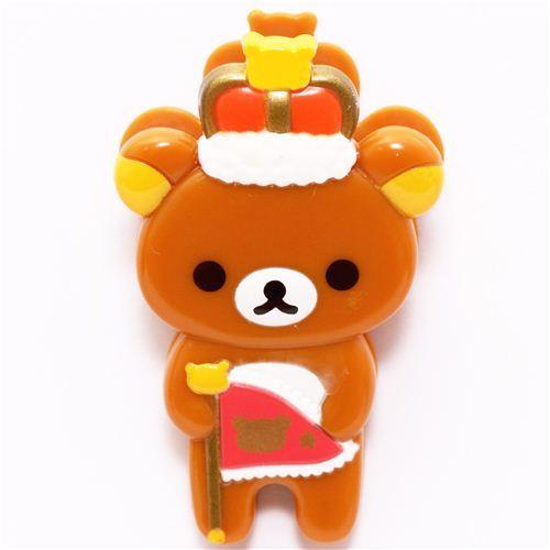 Rilakkuma Wonderland brown bear crown pennant clip peg