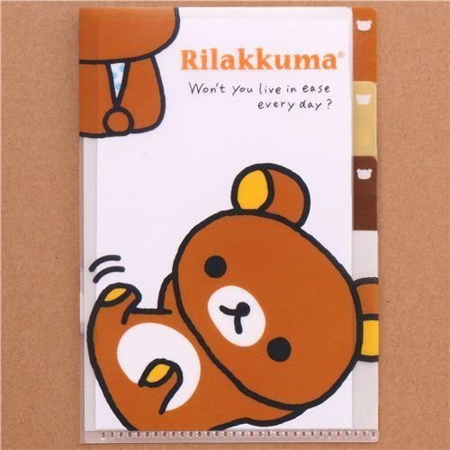 kawaii Rilakkuma brown bear mini plastic folder 3-pocket