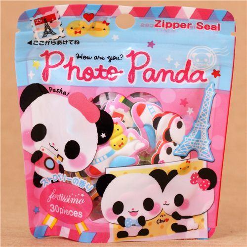 kawaii traveling panda sponge sticker sack from Japan