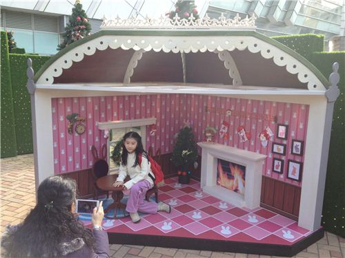The cutest miniature rabbit house - even small children would look big in there