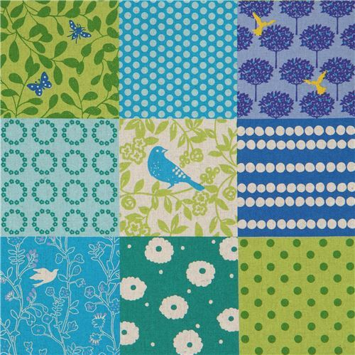 blue green echino canvas fabric with square pattern Story