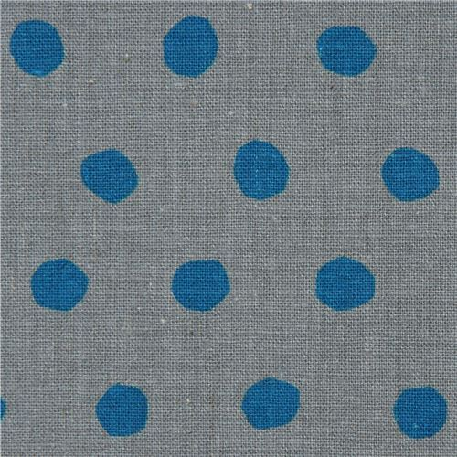 grey echino canvas fabric with blue dots Standard