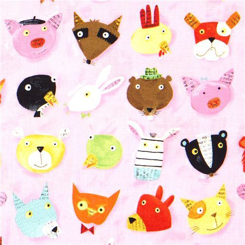 Animal heads canvas designer fabric by Nancy Wolff