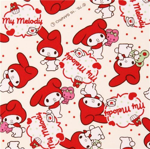 cream My Melody rabbit dot laminate fabric Sanrio Japan