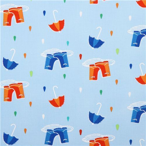 light blue raindrop fabric with umbrellas boots design Michael Miller