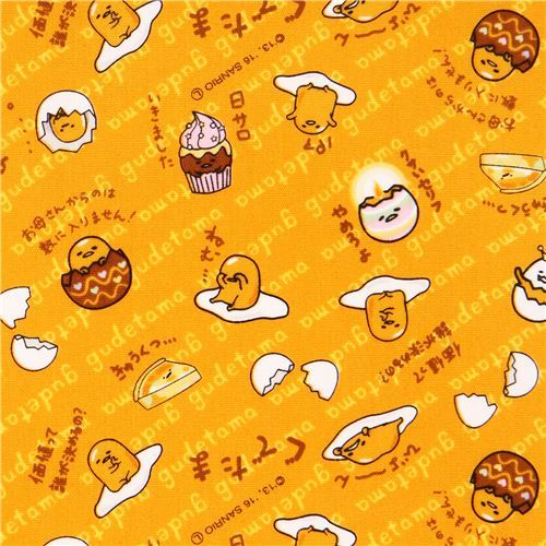 orange-yellow Gudetama funny yolk cracked egg laminate fabric Sanrio Japan
