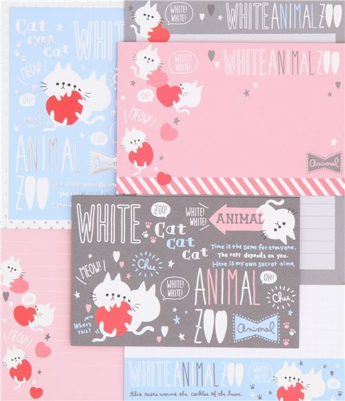 cute heart cat silver metallic embellishment Letter Set by Q-Lia from Japan
