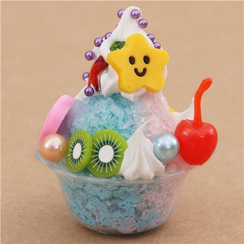 blue pink shaved ice cherry kiwi dessert figure from Japan