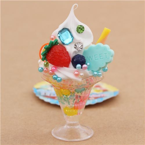 white ice cream strawberry biscuit parfait figure from Japan