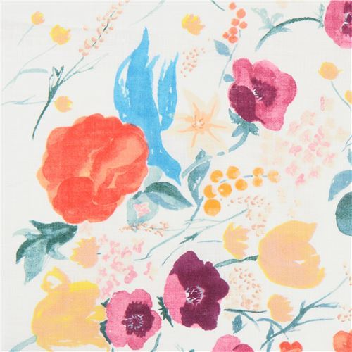 flower bird cream peach metallic nani Iro linen fabric Kokka