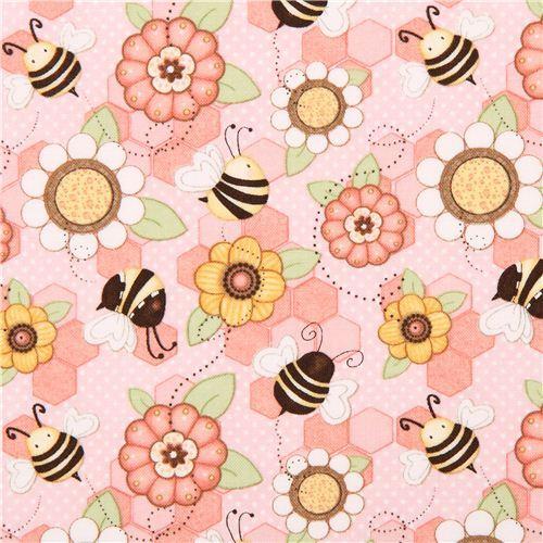 kawaii pink honeycomb fabric by Henry Glass