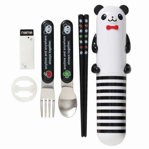 panda bear stripe Bento Cutlery Set from Japan