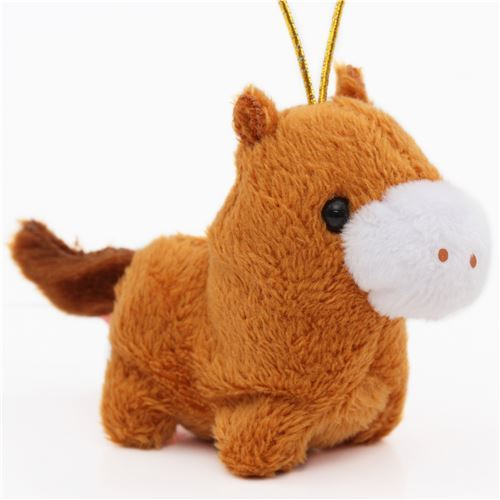 small brown horse with gold color strap Chinese Zodiac Puchimaru plush charm