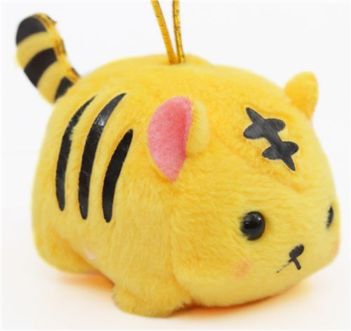 small orange tiger with gold color strap Chinese Zodiac Puchimaru plush charm