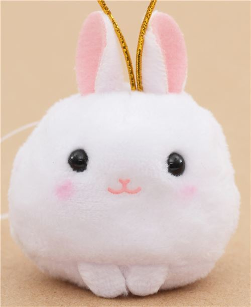 small white rabbit with gold color strap Chinese Zodiac Puchimaru plush charm