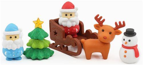 Iwako erasers blue Santa snowman reindeer Christmas 6 pieces set