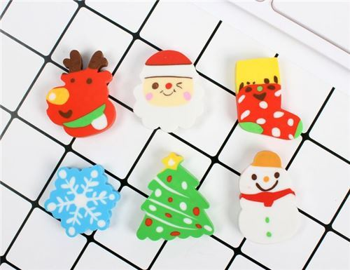 random colorful Christmas erasers