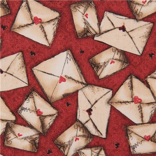 red fabric letter envelope Gorjuss Quilting Treasures
