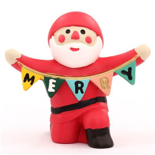 Santa Claus with pennant Christmas figurine Japan