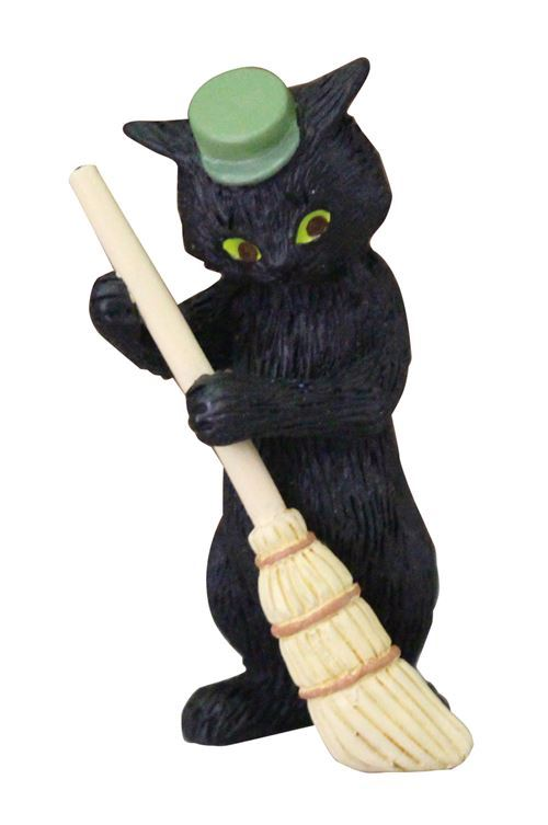 black cat green hat and broom figurine from Japan