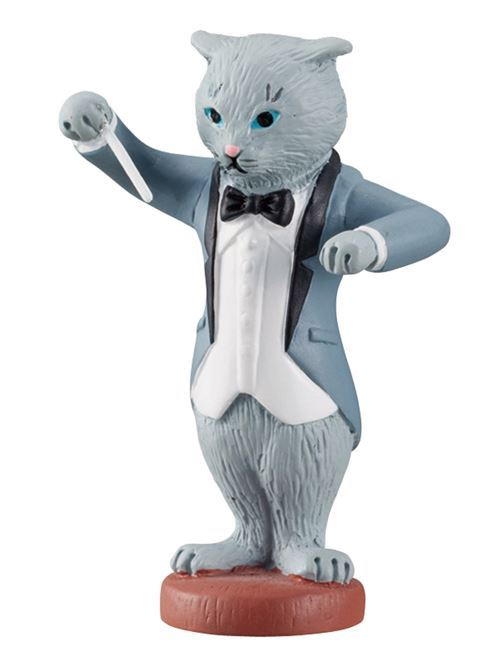 grey cat music orchestra concert conductor figurine from Japan