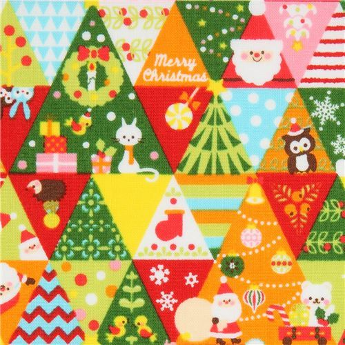 Cosmo colorful Christmas triangle fabric with trees