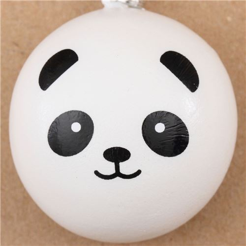 panda bear bun squishy cellphone charm kawaii