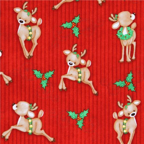 cute red reindeer mistletoe winter animals Christmas fabric