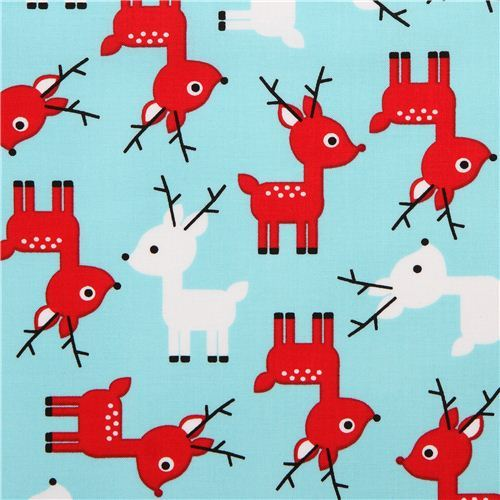 ice blue reindeer Christmas fabric Jingle 3 Aqua by Robert Kaufman