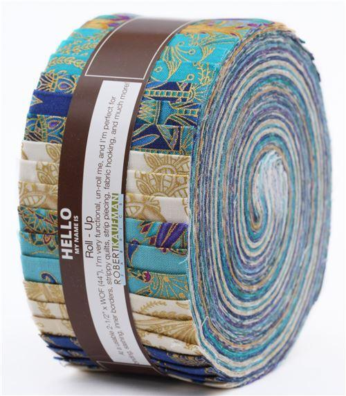 Roll-up fabric roll Jewel Colorstory ornament gold metallic Robert Kaufman