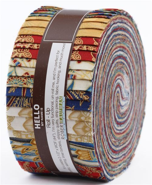Roll-up fabric roll Spice Colorstory ornament gold metallic Robert Kaufman