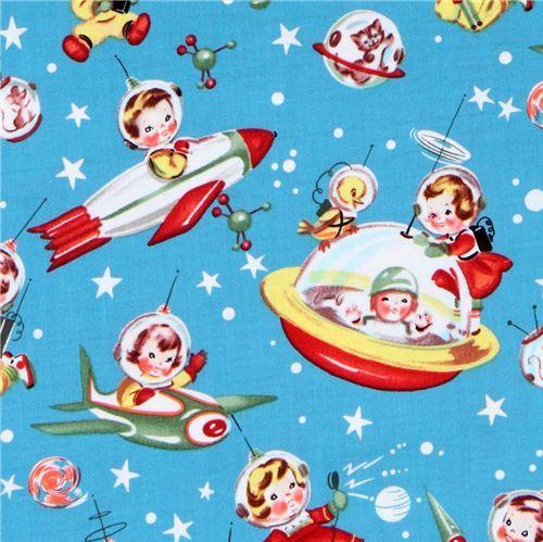 Michael Miller fabric Retro Rocket Rascals astronauts