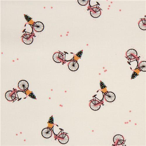 cream bicycle & Christmas tree Xmas fabric by Dear Stella USA