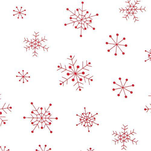 white designer Christmas fabric with red snowflakes