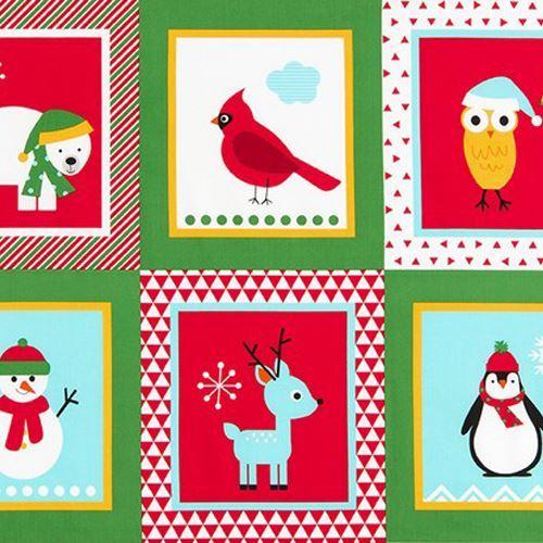 green white Robert Kaufman animal square fabric Jingle 4