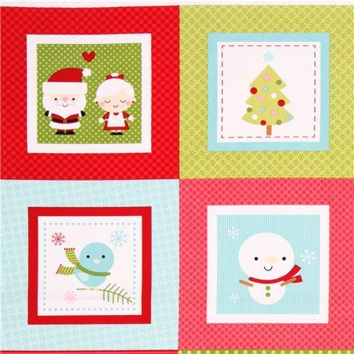 red-green Riley Blake Santa Claus panel Xmas fabric 'Santa Express'