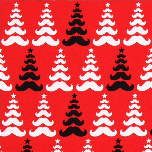 red moustache Xmas fabric Robert Kaufman Merry Mustaches