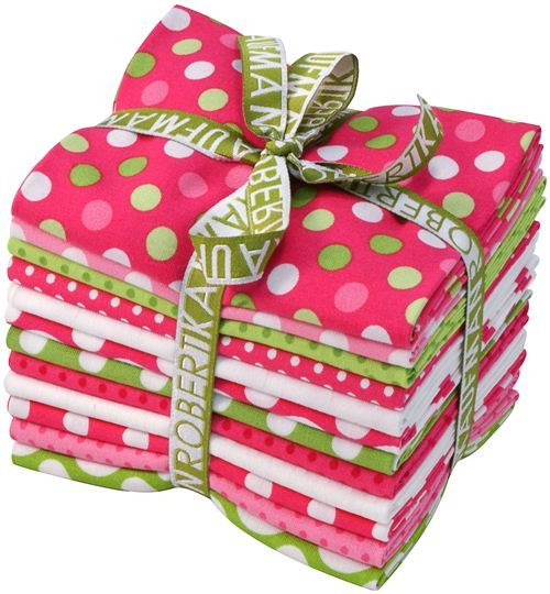 Fat Quarter fabric bundle dots Watermelon Robert Kaufman